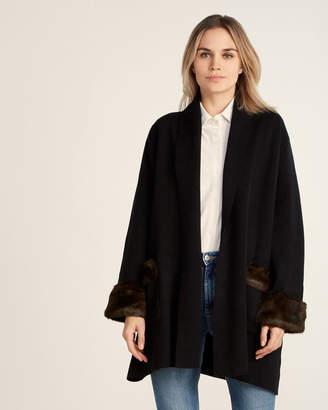 Muche et Muchette Faux Fur-Trimmed Long Sleeve Open Cardigan