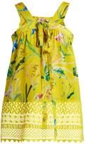 No.21 NO. 21 Lace-hem bird-print silk top