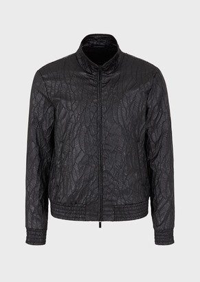Emporio Armani Full-Zip Jacket In Raised Chevron Two-Way Stretch Fabric