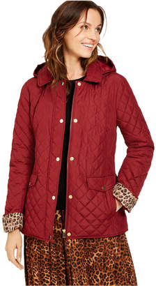 Charter Club Quilted Leopard-Print-Trim Hooded Jacket