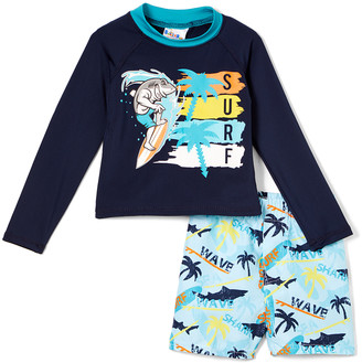 Sweet & Soft Boys' Board Shorts Navy - Navy 'Surf' Shark Long-Sleeve Rashguard Set - Infant & Toddler