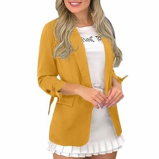 Nensiche Women Casual Boyfriends Blazer 3/4 Sleeve Open Front Pocket Office Work Business Suit Jacket (L