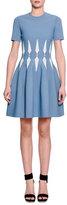 Alexander McQueen Short-Sleeve Harness-Waist Dress, Dream Blue/Ivory