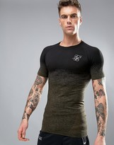 SikSilk Compression T-Shirt In Fade Print With Logo