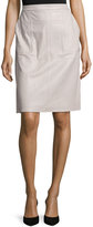 Halston Leather Straight Skirt, Light Stone