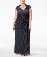 Betsy & Adam Plus Size Sequined Lace Draped Gown