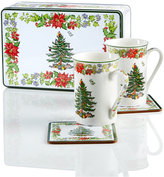 Spode Christmas Tree Poinsettia S/2 Mugs & Coasters in Gift Tin