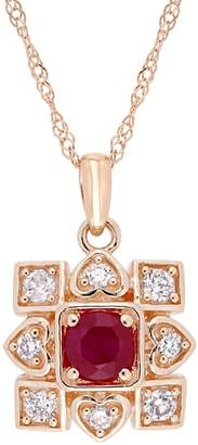 Everly Concerto 10K Rose Gold Pendant Necklace with Natural Ruby and 0.02 CT. T.W. Diamond