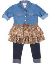 Little Lass Tan Denim & Leopard Tunic & Leggings - Infant