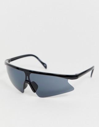ASOS DESIGN half frame flared visor sunglasses in black