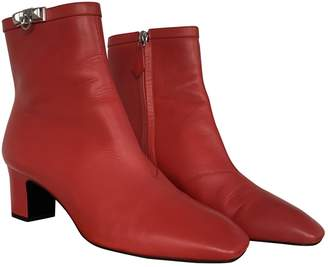 Hermes Joueuse Red Leather Ankle boots
