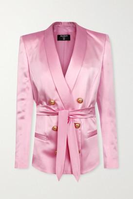 Balmain Belted Double-breasted Silk-satin Blazer - Pastel pink