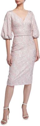 Theia V-Neck Raglan Balloon-Sleeve Cloque Dress