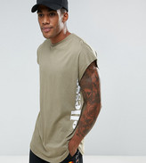 Ellesse Curved Hem T-Shirt With Side Logo In Green
