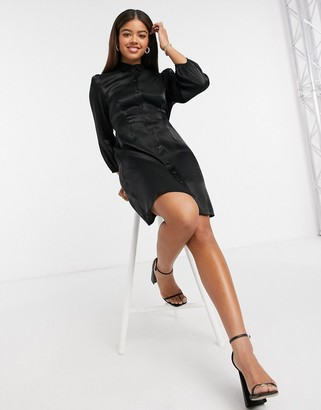 Pieces satin shirt dress in black