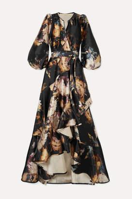 Anna Mason - Stella Ruffled Floral-print Satin Wrap Gown - Black