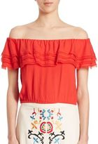 Alice + Olivia Dottie Off-The-Shoulder Ruffled Blouse