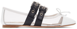 Miu Miu Transparent and White Double Bands Ballerina Flats