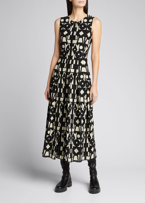 Akris Geometric Print Wool-Blend Pleated Dress