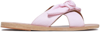 Ancient Greek Sandals Thais Bow-embellished Gingham Woven Slides