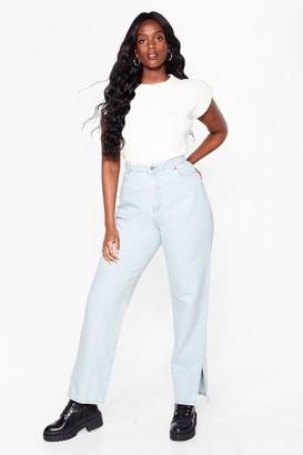 Nasty Gal Womens Let's Split Straight-Leg Plus Jeans - Blue - 16