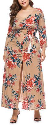 Belle De Jour Belle de Jour Women's Maxi Dresses Khaki - Khaki Floral Tie-Waist Front-Slit Maxi Dress - Women & Plus