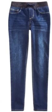 Imperial Star Big Girls Knit Waistband Denim Leggings