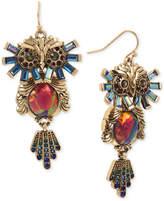 Betsey Johnson Gold-Tone Multi-Stone Owl Drop Earrings