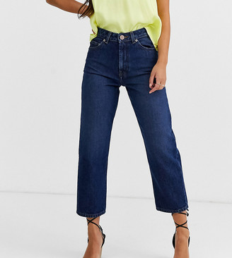 ASOS DESIGN Petite Recycled Florence authentic straight leg jeans in rich dark stonewash blue