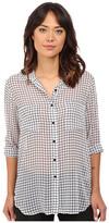 BB Dakota Stefan Grid Printed Crinkle Chiffon Button Front Shirt