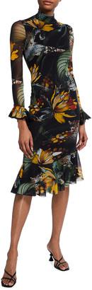 Fuzzi Jungle-Print Mock-Neck Ruffle Dress