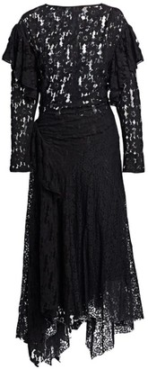 Etoile Isabel Marant Vally Ruffled Lace Midi Dress