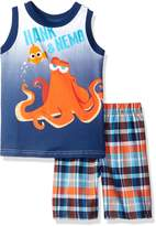 Disney Little Boys 2 Piece Finding Dory Hank and Nemo Plaid Muscle Tee Short Set