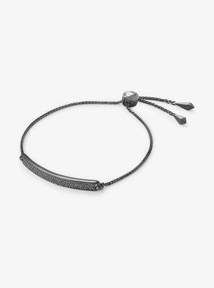 Michael Kors Black Rhodium-Plated Sterling Silver Pave Plaque Slider Bracelet