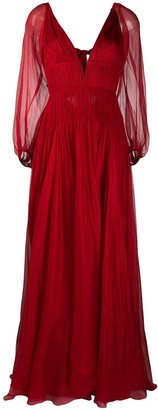 Maria Lucia Hohan smocked waist V-neck dress