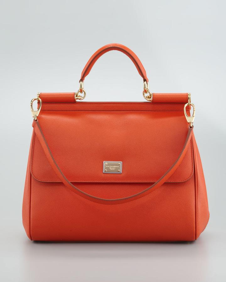 Dolce & Gabbana New Miss Sicily Leather Handbag, Orange