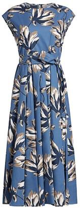 Max Mara Fido Floral Poplin Midi Dress