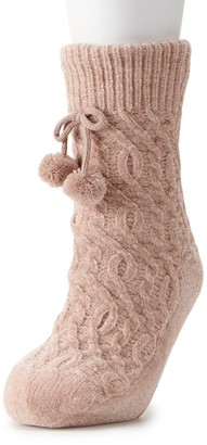 Lauren Conrad Women's Chenille Cable Slipper Sock with Poms
