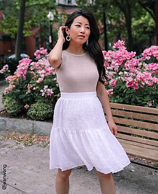 Ann Taylor Petite Flower Clip Full Skirt