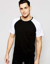 ONLY & SONS Longline T-Shirt with Contrast Raglan Sleeves