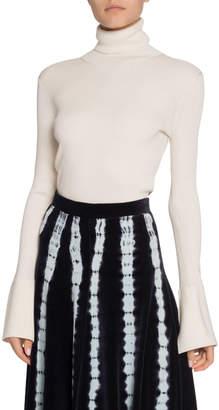 Proenza Schouler Silk-Cashmere Flare-Sleeve Turtleneck Sweater
