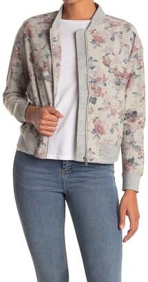 Floral Zip Sweatshirt Bomber Jacket