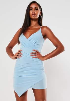 Missguided Blue Slinky Strappy Wrap Bodycon Mini Dress