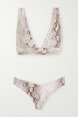 Zimmermann Bellitude Lattice-trimmed Snake-print Bikini - Snake print