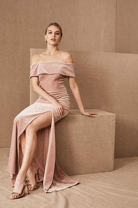 BHLDN Fawn Velvet Wedding Guest Dress