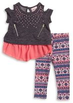 Little Lass Baby Girl's Sequined Top and Patterned Leggings Set