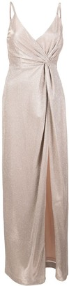 Aidan Mattox Twisted-Waist Split-Hem Gown
