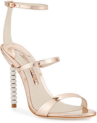 Sophia Webster Rosalind Crystal-Heel Leather Sandals, Rose Gold