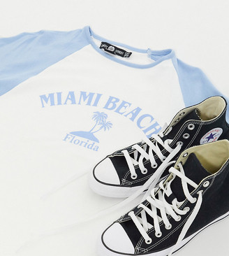 Daisy Street Plus oversized raglan t-shirt with vintage Miami Beach print
