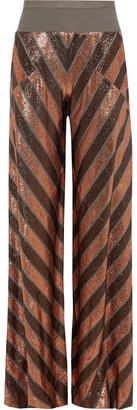Rick Owens Lilies Burnout Metallic Striped Stretch-knit Wide-leg Pants